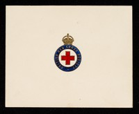 view [British Red Cross Society card featuring The Queen's message following the outbreak of war in September 1939) encouraging people to volunteer their services].