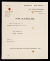 """view [Paper certificate of inoculation against """"enteric"""" (i.e., typhoid fever) for the British Red Cross Society and the V.A.D. selection board]."""