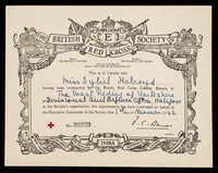 view [Certificate of appointment (in this instance as a Divisional Civil Defence Officer, 1 November 1942) for the British Red Cross Society].