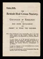 view [Membership form (Form D (8) - certificate of enrolment) for the British Red Cross Society. Issued in February 1938].