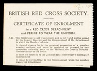 view [Membership card (Certificate of enrolment) for the British Red Cross Society. Used in April 1941].