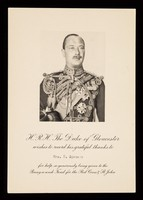 view [Portrait of Henry, Duke of Gloucester, sent out in thanks for help in his Penny-a-week fund for the British Red Cross Society and the Order of St. John].