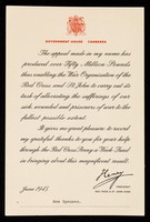 view [Printed letter from Henry, Duke of Gloucester, sent out in thanks for help in his Penny-a-week fund for the British Red Cross Society and the Order of St. John. Government House, Canberra is given as the sender's address].