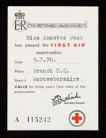 view [Card certifying proficiency at first aid].