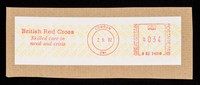 view [Postal franking label for the British Red Cross Society, as used in September 1992].
