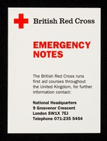 view [Small British Red Cross Society first aid card, giving brief instructions on what to do].