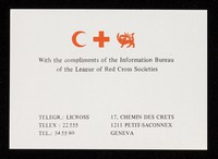 view [Small compliments slip for the League of Red Cross Societies, Geneva (1969?)].