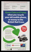 view [Envelope for recycling old mobile phones to raise money for the British Red Cross Society].