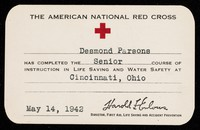view [Card certifying proficiency in life saving and water safety (Cincinnati, Ohio, 1939 - used in 1942)].