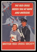 view [British Red Cross Society greetings card of a World War 2 recruiting poster asking for volunteers].