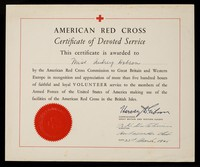view [Certificate issued by the American Red Cross in 1945 in recognition of more than 500 hours of volunteer service. ].