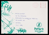 view [Illustrated envelope used by Potter's Herbal Supplies Ltd. in November 1992].
