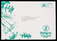 view [Illustrated envelope used by Potter's herbal Supplies WN1 2SB in June 1992].