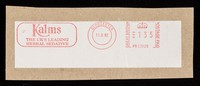 view [Postal cancellation stamp (11 September 1992) for G.R. Lane of Gloucester, advertising their Kalms natural sleeping tablets].