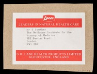 view [Label for parcels from G.R. Lane of Gloucester].