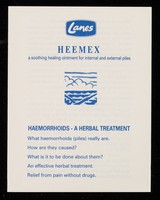 view [Leaflet advertising G.R. Lane of Gloucester's Heemex, used to relieve haemorrhoids].