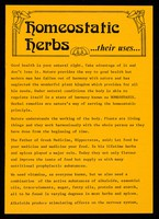 """view [Leaflet advertising """"Homeostatic Herbs"""", spices and essential oils]."""
