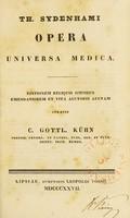 view Th. Sydenhami Opera universa medica.