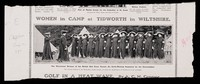 view Women in camp at Tidworth in Wiltshire : the Winchester division of the British Red Cross Society - an early morning inspection by the commandant.