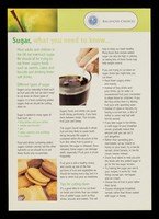 view Sugar : what you need to know / designed and produced by Compass Group UK and Ireland's Design Centre.