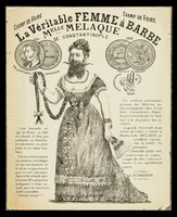 view [Leaflet advertising bearded lady, Mlle. Melaque from Constantinople, appearing at the Champ de Foire (Paris)].