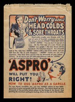 view Don't worry about head colds & sore throats : 'Aspro' will put you right!.