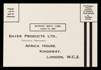 view Business reply card : Bayer Products Ltd., Veterinary Department.