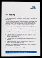 view HIV testing : all new patients registering at this practice are being offered an HIV test as part of routine care ...  / NHS Lewisham.