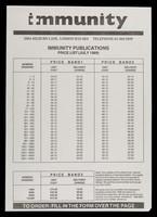view Immunity publications : price list (July 1989) ... order form / Immunity.