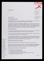 view Dear colleague, Re: World AIDS Day 2001 ... / Derek Bodell, Chief Executive.