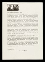 view The AIDS Alliance : AIDS Alliance formed to raise funds.