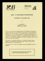 view AIDS : a challenge in education : Wednesday 29 November 1989 at Logan Hall, Institute of Education, Bedford Way, London / Institute of Biology, Institute of Education.
