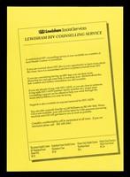 view Lewisham HIV counselling service / Lewisham Social Services.