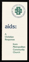 view AIDS : a Christian response from the Metropolitan Community Church / written by the Reverend Stephen A. Pieters.