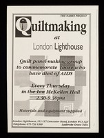 view Quiltmaking at London Lighthouse : quilt panel-making group to commemorate those who have died of AIDS ...