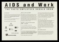 view AIDS and work : the facts employees should know / prepared by the Department of Employment and the Central Office of Information.
