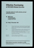 view Effective purchasing of HIV/AIDS-related services : a one-day seminar for health authorti and local authority purchasers at: BMA House, Tavistock Square, London WC1H 9JP / British Medical Association Foundation for AIDS.