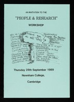 """view An invitation to the """"people & research"""" workshop : Thursday 28th September 1989, Newnham College, Cambridge / sponsored by Cambridge AIDS Roundtable, East Anglian Regional Health Authority."""