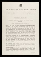 """view Press release 15th May 1991 : """"Journalists reluctant to focus on WHO HIV/AIDS figures"""" : HIV/AIDS global figures and the developing world / The All-Party Parliamentary Group on AIDS."""