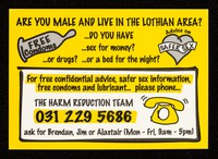 view Are you male and live in the Lothian area: : do you have ...sex for money? ...or drugs? ... or a bed for the night?