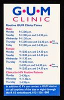 view G.U.M clinic : routine GUM clinics times ... clinics for HIV positive patients ...