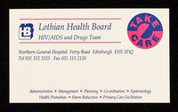 view Lothian Health Board HIV/AIDS and Drugs Team : Northern General Hospital, Ferry Road, Edinburgh EH5 3DQ ... : Take Care.