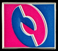 view [Rectangular Taking Care campaign symbol plastic badge].