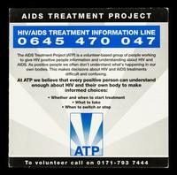 view AIDS Treatment Project : HIV/AIDS treatment information line 0645 470 047 ...