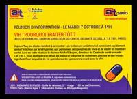 """view Réunion d'information - le mardi 7 octobre à 19h : VIH: pourquoi traiter tôt? : avec le Dr. Michel Ohayon (Directeur du Centre de Santé Sexuelle """"Le 190"""", Paris) / Actions Traitements, Sida Info Service et Sidaction."""