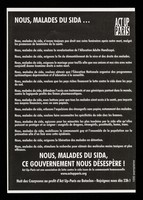 view Nous, malades du SIDA... : Nous, malades du SIDA, ce gouvernement nous désespère! / ACT UP Paris.