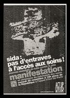 view SIDA : pas d'entraves à l'accès aux soins! : Journée mondiale de lutte contre le sida : manifestation et cérémonie du patchwork des noms : samedi 30 novembre à 18h place de la République / ACT UP Paris.