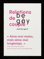 view Relations de couple : be gay : bien être / Crips Île-de-France.