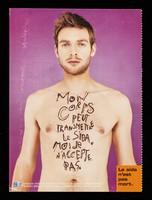 view Mon corps peut transmettre le sida : moi, je n'accepte pas : le sida n'est pas mort / campagne réalisée à l'initiative du Ministère de l'Emploi et de la Solidarité.