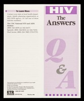 view HIV, the answers : Q&A / written by Jill Schettler.